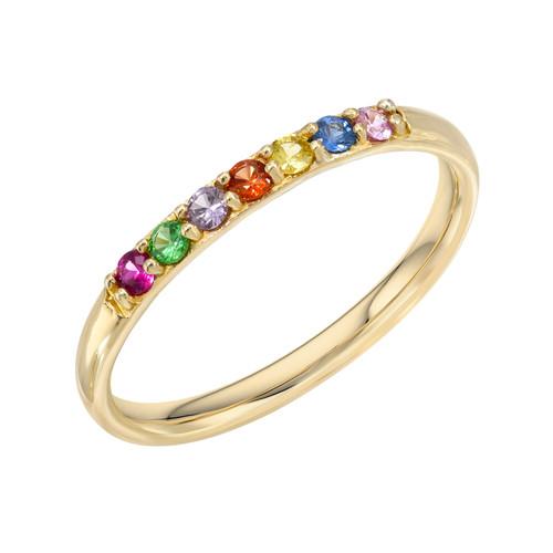 Genuine Multi Birthstone Stone High Polish Rainbow Ring (Style#11901)