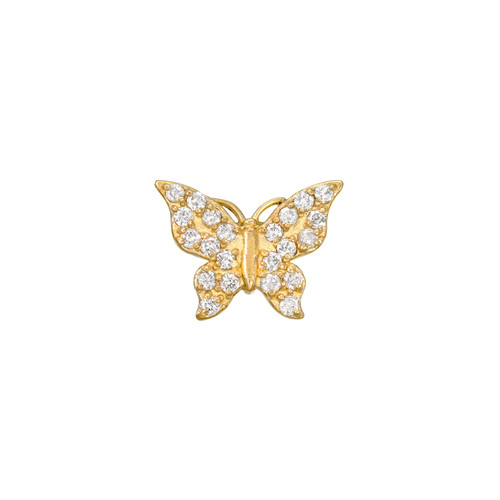 Shimmering Diamond Accented Beautiful Butterfly Post Earring (Style#11903)