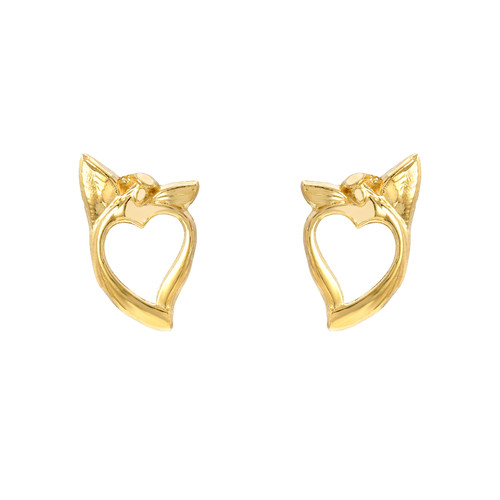 Heart and Angel High Polish Adorable Cute Friction Post Earrings (Style#11904)