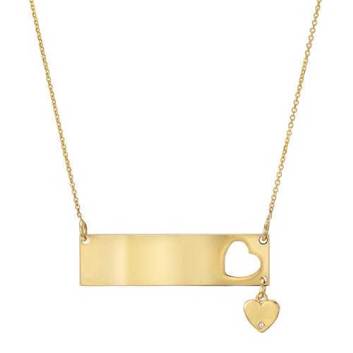 High Polish Modern Diamond Set Heart Charm Wide Bar Necklace (Style#11906)