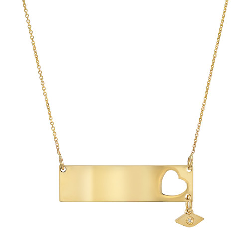 High Polish Modern Diamond Accented Heart Wide Bar Necklace (Style#11907)