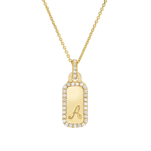 Gold Script Initial Halo 19mm Dog-Tag Pendant (Style#11911-11936)