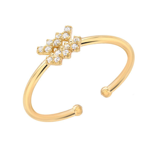 Gold Brilliant Natural Gemstone Accented Zodiac Ring (Style#10801-10812)