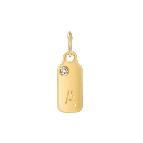 Yellow Gold Birthstone Accented Block Letter 15mm Dog-Tag Pendant (Style#10837-10862)