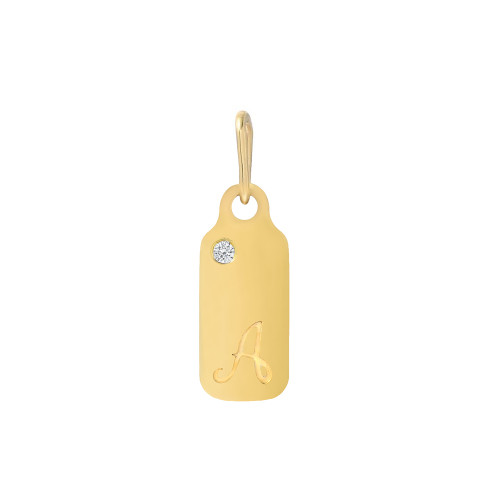 Yellow Gold Birthstone Accented Cursive Initial 18mm Dog-Tag Pendant (Style#11184-11209)