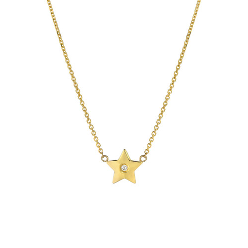 14k Fine Gold Natural Diamond Accented Ladies Minimalist Star Anklet (Style#11810)