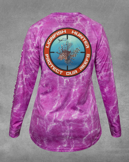 44ceb6517e461 Ladies' Pink Ripple Lionfish Hunter UPF 50+ Long Sleeve Performance Shirt -  Slim Junior's Style Fit