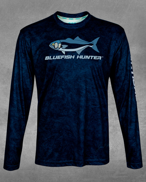Men's Navy Surf Bluefish Hunter UPF 50+ Long Sleeve Performance Shirt