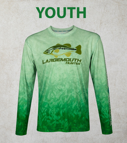 Youth Bass Grass Largemouth 50+ UPF Performance Shirt