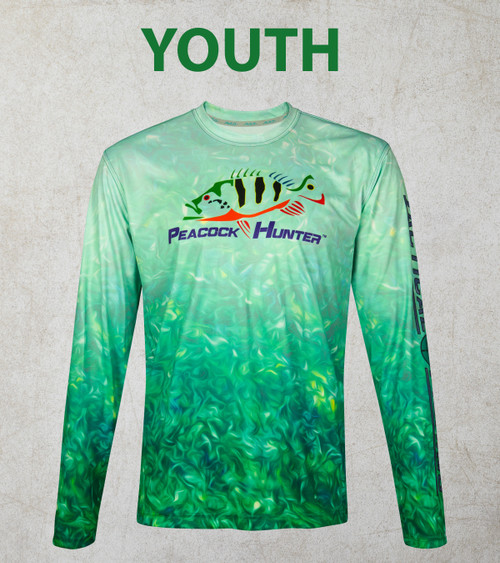 Youth Sea Weed Peacock Hunter 50+ UPF Performance Shirt