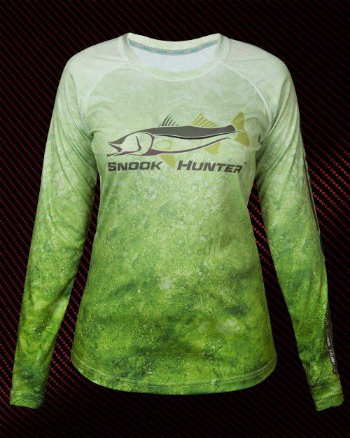 444 Sportswear Ladies Olive Ocean Snook Hunter UPF 50+ Performance Shirt Front