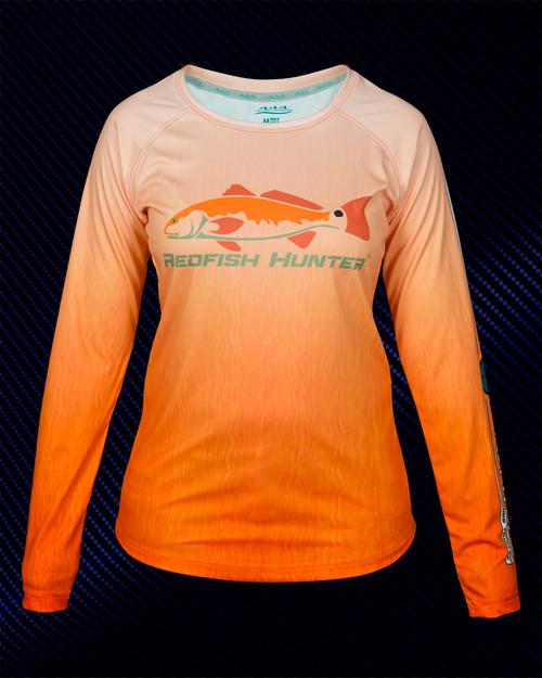 444 Sportswear Ladies Orange Vertical Redfish Hunter UPF 50+ Performance Shirt Front