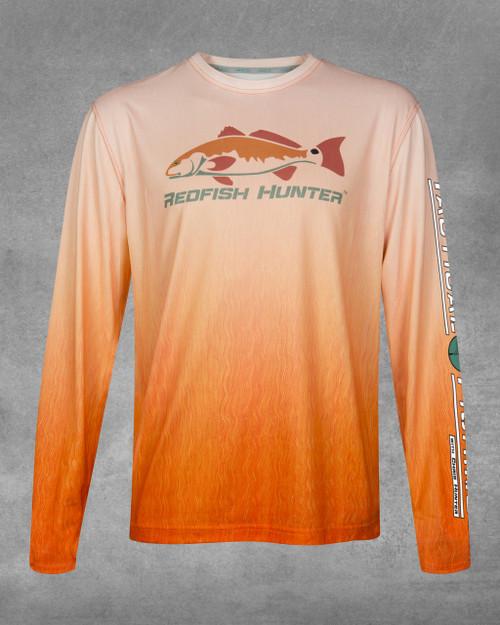 Orange Vertical Redfish Hunter UPF 50+ Long Sleeve Performance Shirt