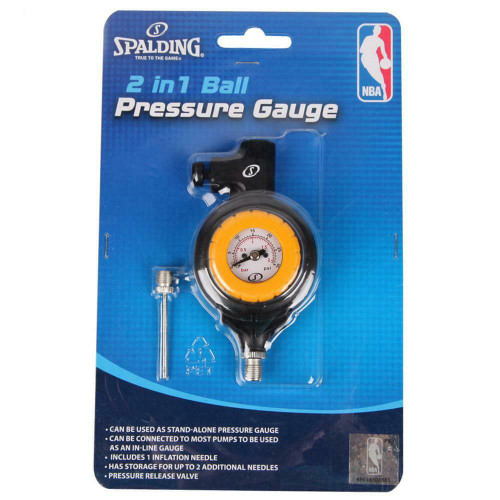 Two In One Basketball, Football, Soccer Pump Pressure Gauge From Spalding