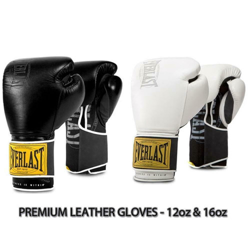 Everlast 12oz Or 16oz 1910 Leather Boxing Gloves in White Or Black