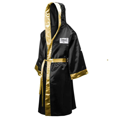 Everlast Hooded Full Length Boxing Robe In Black And Gold