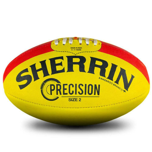 Sherrin Precision Size 2 AFL Football Yellow With Red