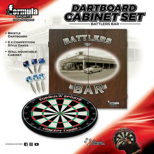 Formula Sports - Battlers Dartboard, Darts & Cabinet Set