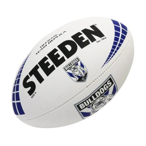 Steeden Canterbury Bankstown Bulldogs NRL White Football - Size 5