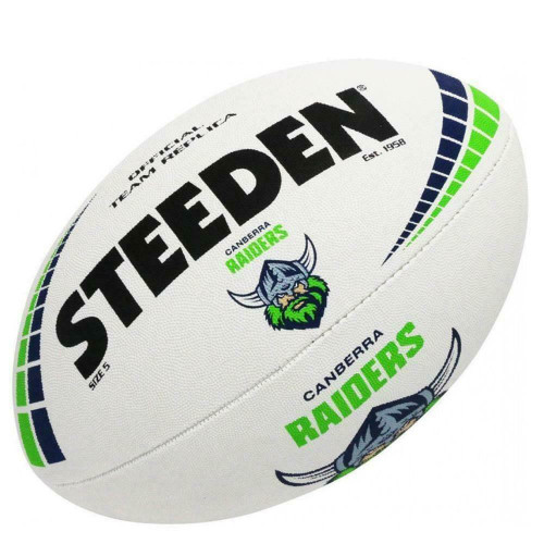 Steeden Canberra Raiders NRL White Football - Size 5
