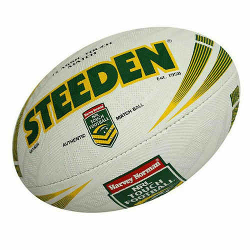 Steeden NRL Match Ball High Grip Senior Touch Football In White