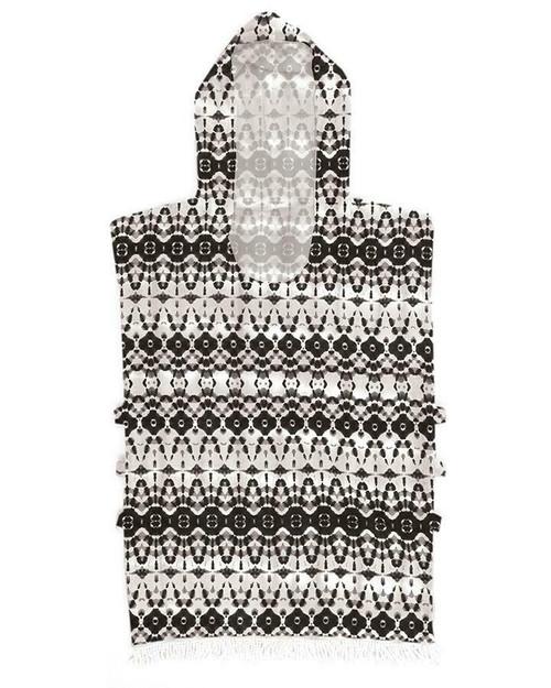 Ladies Summer Fling Hooded Poncho Towel In Black From Ocean & Earth