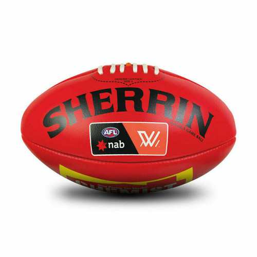 AFLW League Football Leather Sherrin Ball In Red - Size 4