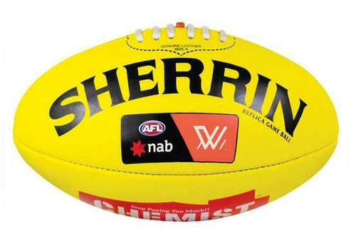 AFLW League Football Leather Sherrin Ball In Yellow - Size 4