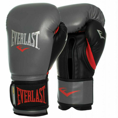Everlast 12oz Powerlock Training Boxing Gloves in Grey/Black/Red