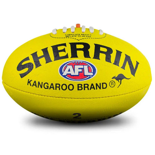KB All Surface AFL Football Synthetic Sherrin Ball In Yellow - Size 2