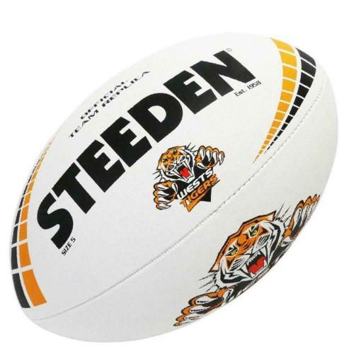 Steeden West Tigers NRL White Football - Size 5