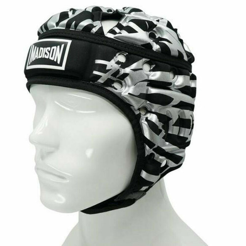 Madison Kalyn Ponga Air Flo Rugby NRL Football Headguard in Black/Silver