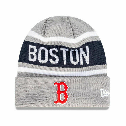 New Era Boston Red Sox MLB Baseball Supporter Skull Beanie In Grey
