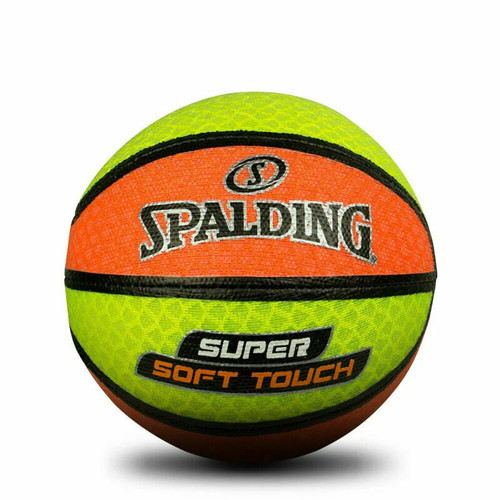 Spalding Super Soft Touch Mesh Basketball - Size 3 in Orange/Yellow