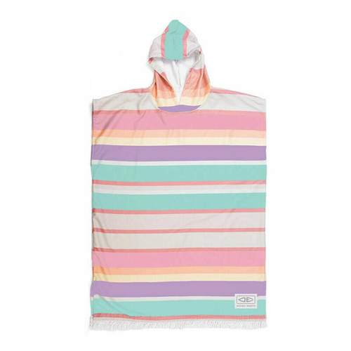 Ocean & Earth Sunkissed Youth Hooded Poncho - Multi Stripes