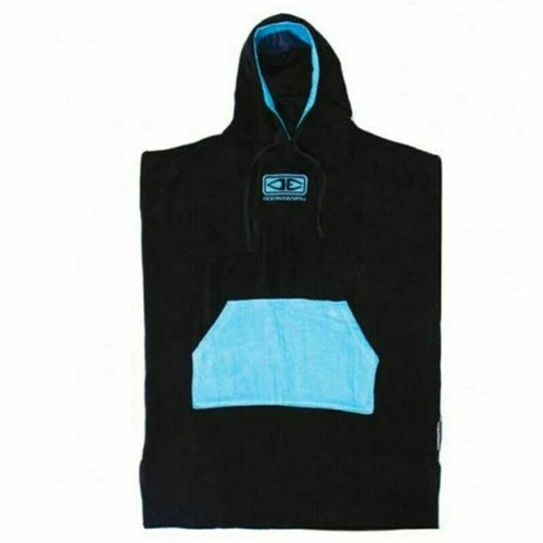 Ocean & Earth Adult Day Break Hooded Poncho - Black With Blue
