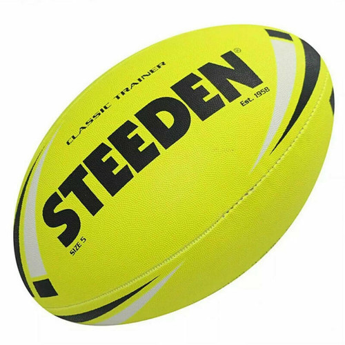 Steeden Classic Trainer NRL, Rugby League Football - Size 5 in Fluro Yellow