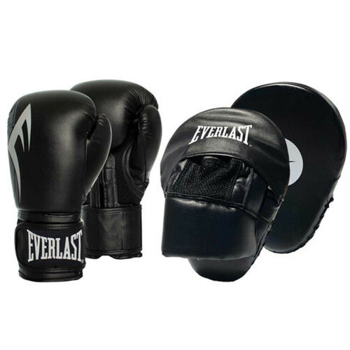 Everlast Power Boxing Glove and Mitt Combo In Black 10oz