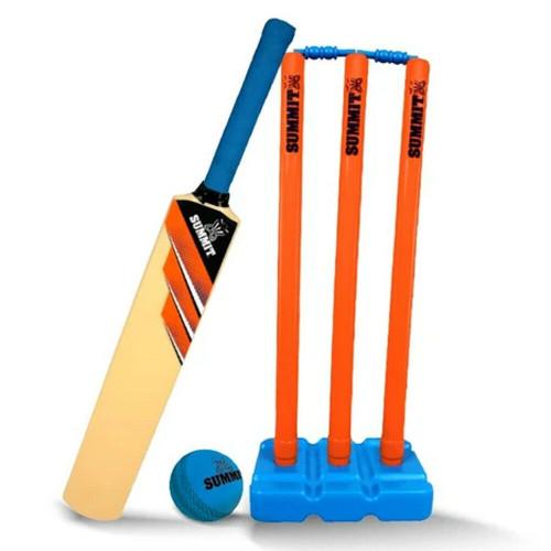 SUMMIT Senior Plastic Cricket Set - Bat, Ball & Stumps