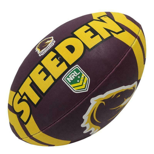 Steeden NRL Broncos Supporter Ball - 11 Inch Half-Size - Rugby League Football