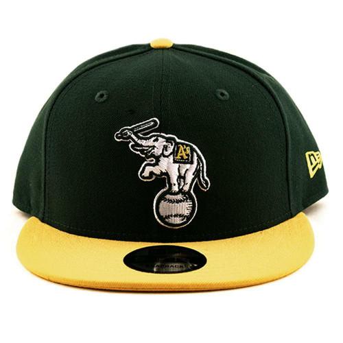 Oakland Athletics Youth New Era Cap MLB 9Fifty Flat Brim Hat Dark Green-Yellow
