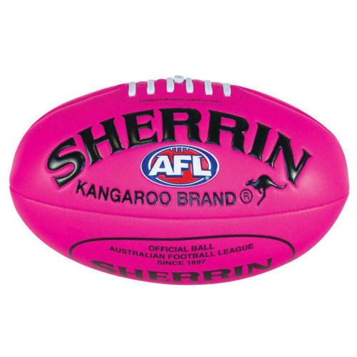 AFL Sherrin Super Soft Touch Ball In Pink - Padded PVC Football Size 1