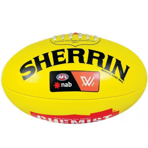 AFL Sherrin AFLW Replica Game Ball In Yellow - PVC Ball Size 4 - Womans League