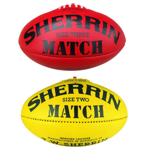 Sherrin Match AFL Leather Football In Yellow & Red Size 4 & 5