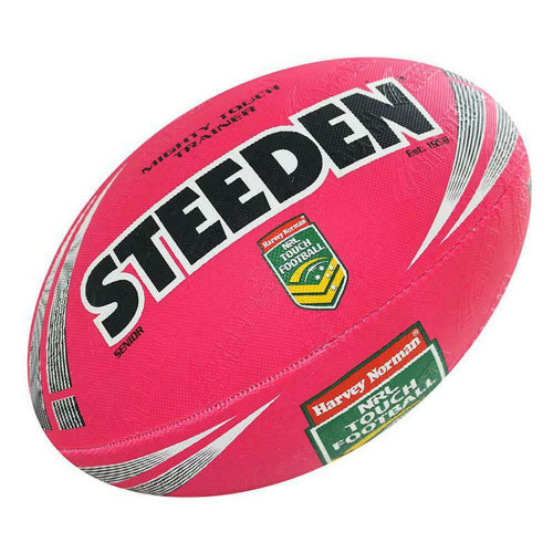 Steeden NRL Mighty Touch Trainer Ball - Rugby League Football in Pink
