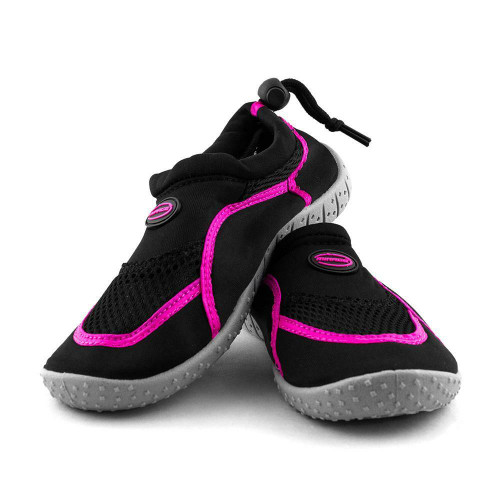 Kids Adjustable Aqua Shoes in Black and Pink from Mirage