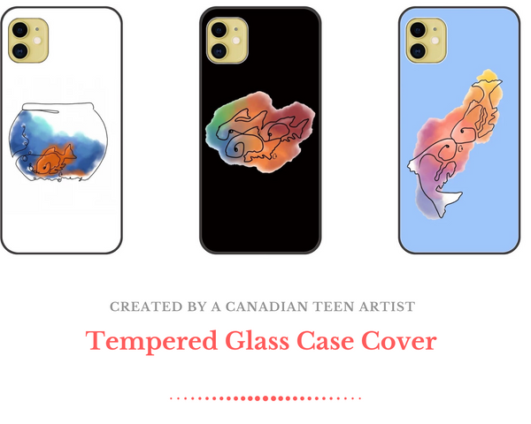 Tempered Glass Case Cover with Soft TPU Bumper for iPhone