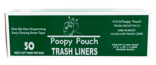 CROWN PRODUCTS Poopy Pouch 13 gallon replacement bags D2W 1.5 mil 50 bags per roll