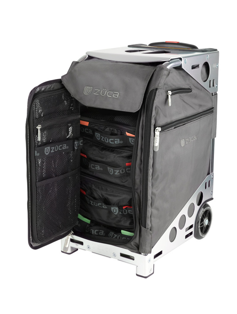 ZÜCA Pro Travel Graphite Gray/Silver - inside view w/organizer bags