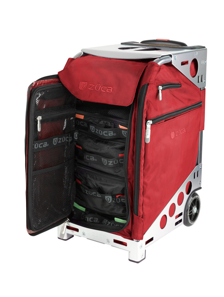 ZÜCA Pro Travel Ruby Red/Silver - inside view w/organizer bags
